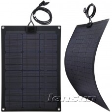 Lensun 2x55W(total 110W) 12V High ETFE Quality Black Flexible Solar Panel for Marine Boat, Yacht and RV, Cabin, 4WD  Truck Camping