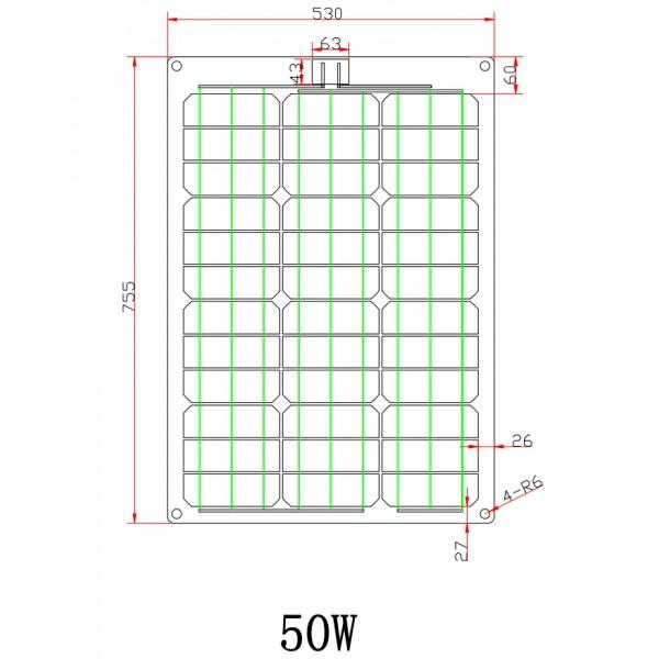50w 12v Fiberglass Black Flexible Solar Panel Full Kit