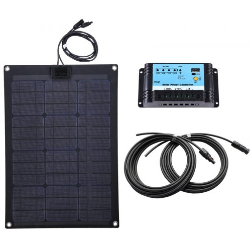 Lensun® 50W 12V Black ETFE Flexible Solar Panel Full Kit with 10A Controller,5m Cables Ready for VW T4 Camper, Bus