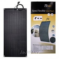Lensun® 80W 12V Super Quality Fiberglass Black Flexible Solar Panel for RV,Camper Outdoor Solar Charging