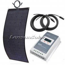 100W Black Solar Panel Full Kit, 10A MPPT LCD Controller, 2PCS 5M Cables Charge Ready to Charge Battery