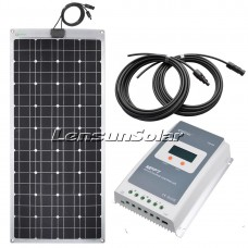 Lensun 100W ETFE Flexible Solar Panel Complete Kit, with 10A MPPT LCD Regulator and 2pcs 5M cables, Perfect for RV,Camper,Boat..etc