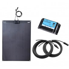 Lensun® 100W 12V ETFE Black Flexible Solar Panel Charge Full Kit, 10A Regulator, 5m Cables ready to charge battery!