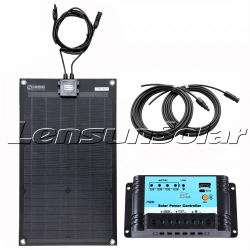 Lensun® 30W 12V Back Flexible Solar Panel Kit with 10A Regulator,5m Cables, Ready to charge for Boat RV Cabin Tent Truck