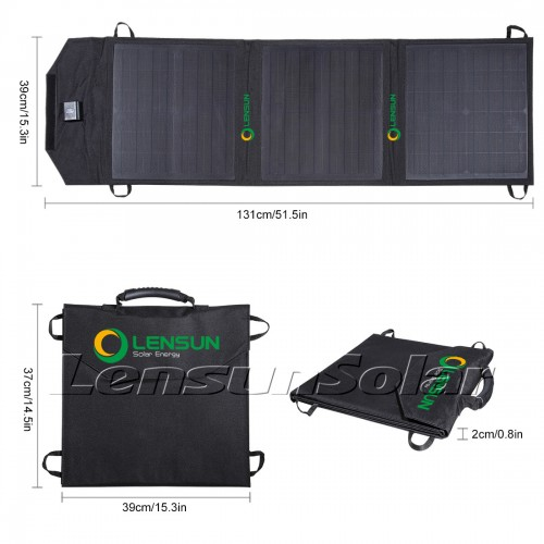 Lensun 50W 12V Ultralight Portable Solar Blankets for DC 12v battery charge and USB Devices charge, Ideal for iPhone, iPad, cell phones, laptop