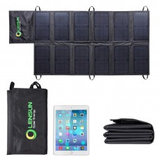 Lensun 60W Outdoor Folding/Foldable Solar Panel Charger with USB + DC output for iPhone, iPad, cell phones, laptop and charge for 12V Battery