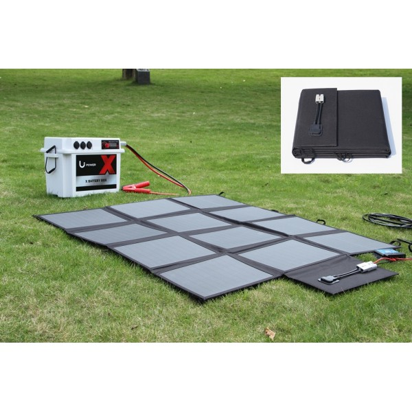 Lensun 200w 12v Portable Solar Blanket Panel Kit With 20a