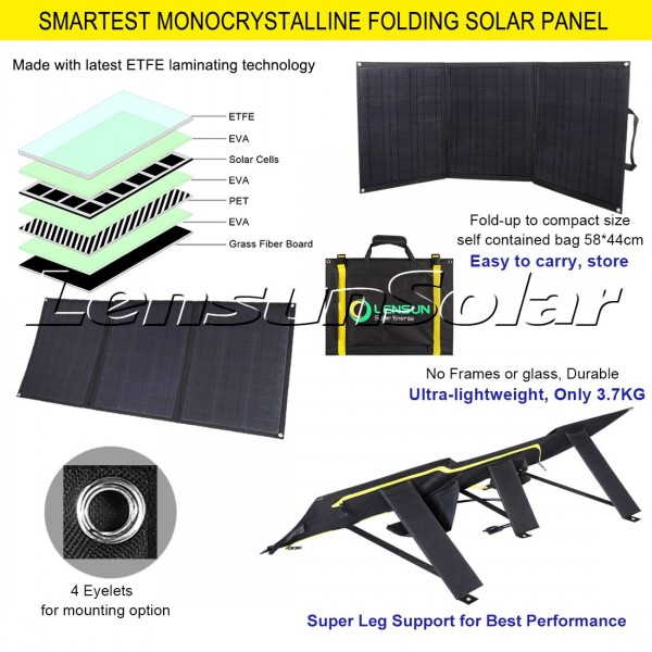 Lensun 100w 12v Etfe Flexible Folding Solar Panel Kit