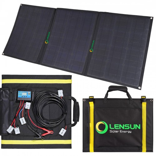 Lensun 100W 12V ETFE Flexible Folding Solar Panel Kit, Including 10A Controller, 5m cables, for RVs, Campers, 4WD, Outdoor Off Grid Charge