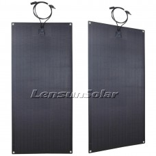 Lensun®  2PCS 100W(total 200W) 12V ETFE Black Flexible Solar Panel, Made of New Hight Efficiency 158 Solar Cell
