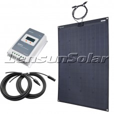 Lensun® 110W Black Flexible Solar Panel Kit with 10A MPPT LCD Controller, 5m Cables Charge for 12V/24V Batteris