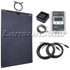 Lensun® 110W Black Flexible Solar Panel Kit with 10A MPPT Controller, LCD Remote,5m Cables Charge for 12V/24V Batteris