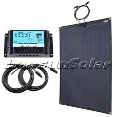 Lensun® 110W ETFE Black Flexible Solar Panel Kit with 10A LCD PWN Controller, 5m Cables Charge for 12V/24V Batteris