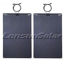 Lensun® 2PCS 110W(total 220W) 12V Black Flexible Solar Panel, Top Quality for RV,Camper,Boat,Yacht Battery Charge