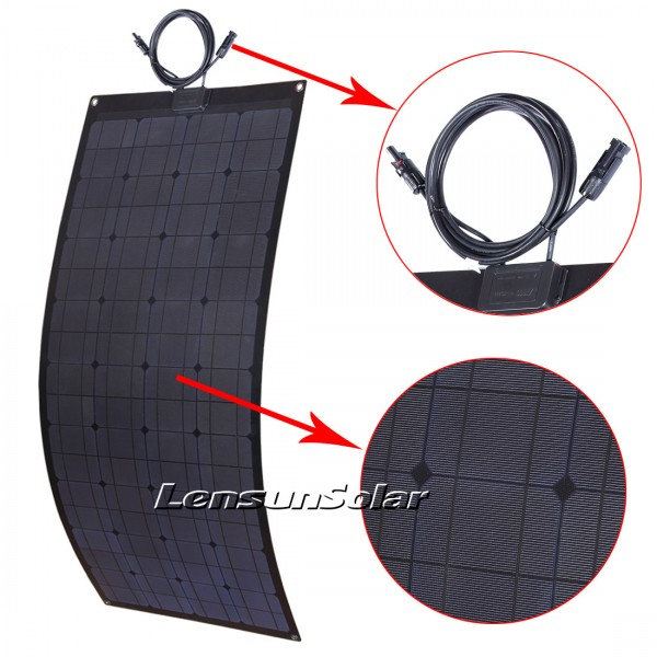 Lensun® 100W 12V Black Flexible Solar Panel, Portable Lightweight