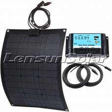 Lensun 55W 12V ETFE Black Flexible Solar Panel full kit,10A regulator, 5m cables, Ready to charge battery