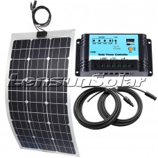 Lensun® 80W Flexible Solar Panel charge kit for boats,yacht,motorhome, 10A regulator, 5m cables