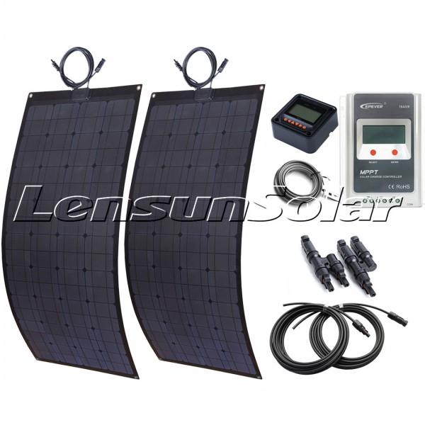 200w 2x100w Black Flexible Solar Panel Complete Kit 20a