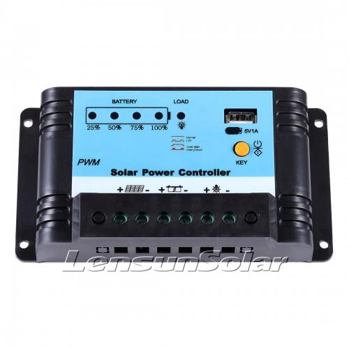 Lensun® 10A Solar Panel Regulator Charge Controller, 12/24V Auto Switch