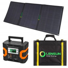 Lensun 100W Foldable Solar Panel and 330W 110V AC Portable Solar Generator Power Station,Perfect Kit for Camping trip power backup
